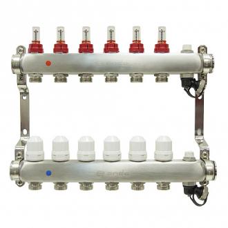 Коллекторная группа ONDO 6 вых. нерж. сталь с расходомерами и термостатическими клапанами в сборе